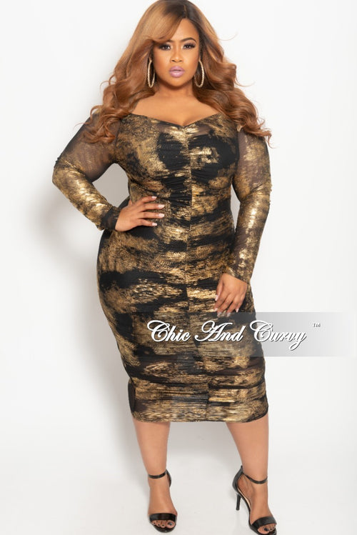 Final Sale Plus Size BodyCon Sheer Ruched Dress in Gold and Black