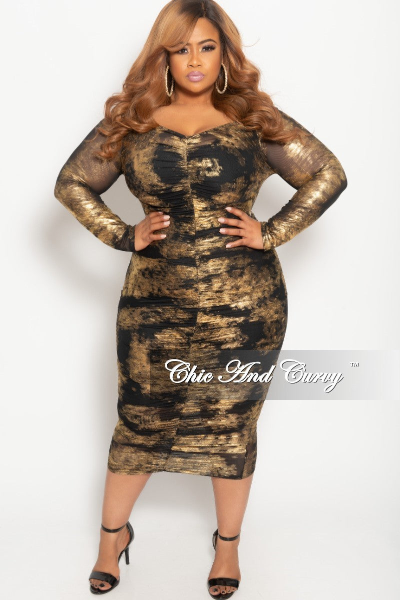 dba7c1e936b14 Final Sale Plus Size BodyCon Sheer Ruched Dress in Gold and Black – Chic  And Curvy