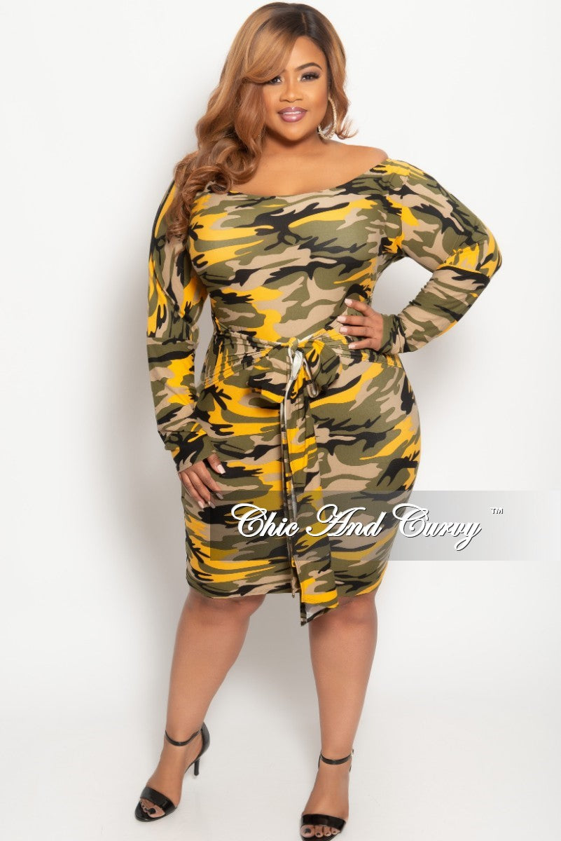 4f408a0ca3d New Plus Size Off the Shoulder BodyCon Dress in Mustard Camouflage Print