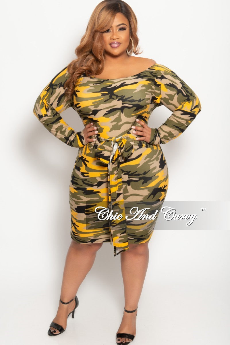 868a70f935a New Plus Size Off the Shoulder BodyCon Dress in Mustard Camouflage Pri –  Chic And Curvy