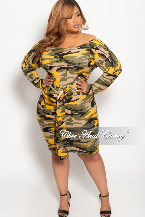 New Plus Size Off the Shoulder BodyCon Dress in Mustard Camouflage Print