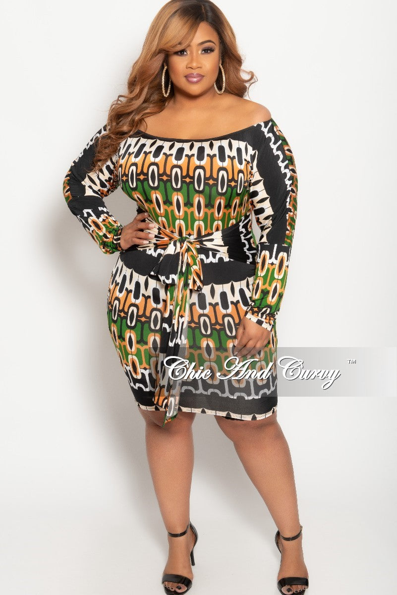 New Plus Size Off the Shoulder BodyCon Dress in Green Rust Beige Black and White
