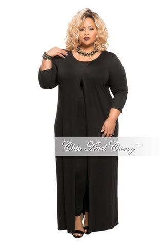 New Plus Size Long Sleeve 2-Piece  Duster and Pants Set in Black