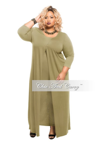 New Plus Size Long Sleeve 2-Piece  Duster and Pants Set in Olive