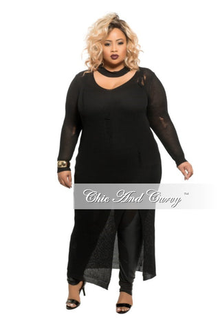 Final Sale Plus Size Off the Shoulder Mesh Long Sleeve Dress in Black