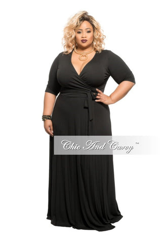 New Plus Size Long Wrap Dress w/ Short Sleeve and Tie in Black