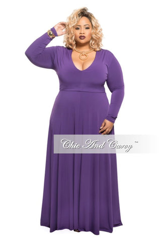 New Plus Size Long Dress with V-Neck and Long Sleeves in Plum Purple