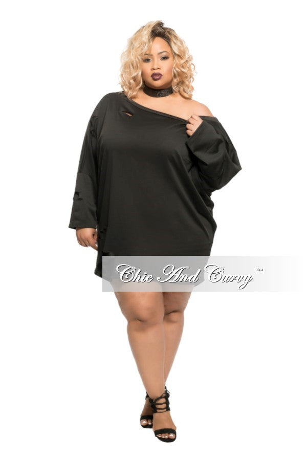 Final Sale Plus Size Short Sweater with Cutouts in Black