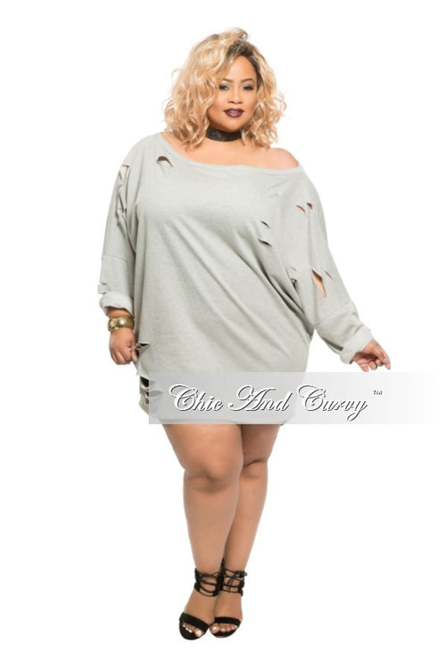 Final Sale Plus Size Short Sweater with Cutouts in Grey