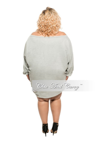 New Plus Size Short Sweater Dress with Cutouts in Grey