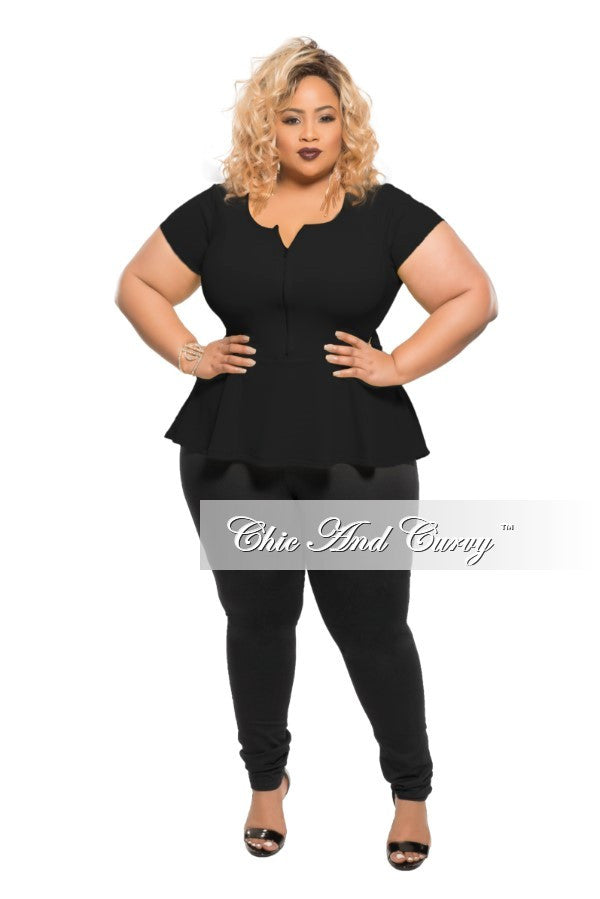New Plus Size Peplum Top with Gold Zipper in Black