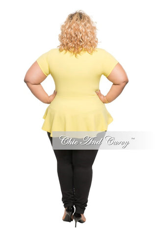 New Plus Size Peplum Top with Gold Zipper in Yellow