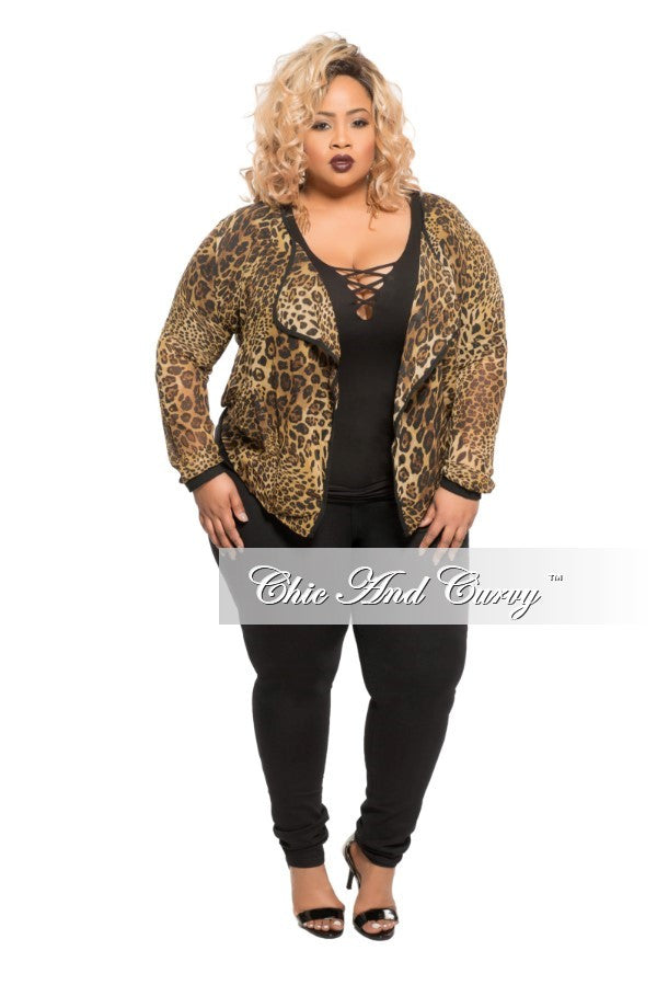 New Plus Size Mesh Cardigan in Animal Print