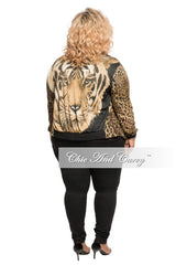 Final Sale Plus Size Mesh Cardigan in Animal Print