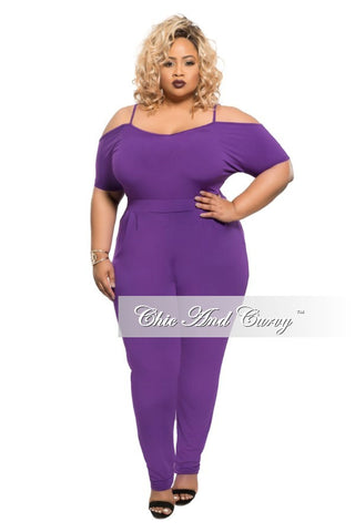 New Plus Size Jumpsuit with Spaghetti Straps and Pencil Point Legs in Purple