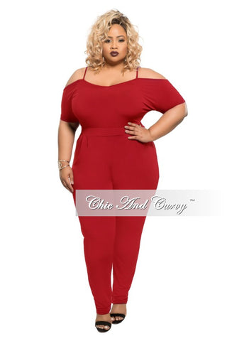 New Plus Size Jumpsuit with Spaghetti Straps and Pencil Point Legs in Red