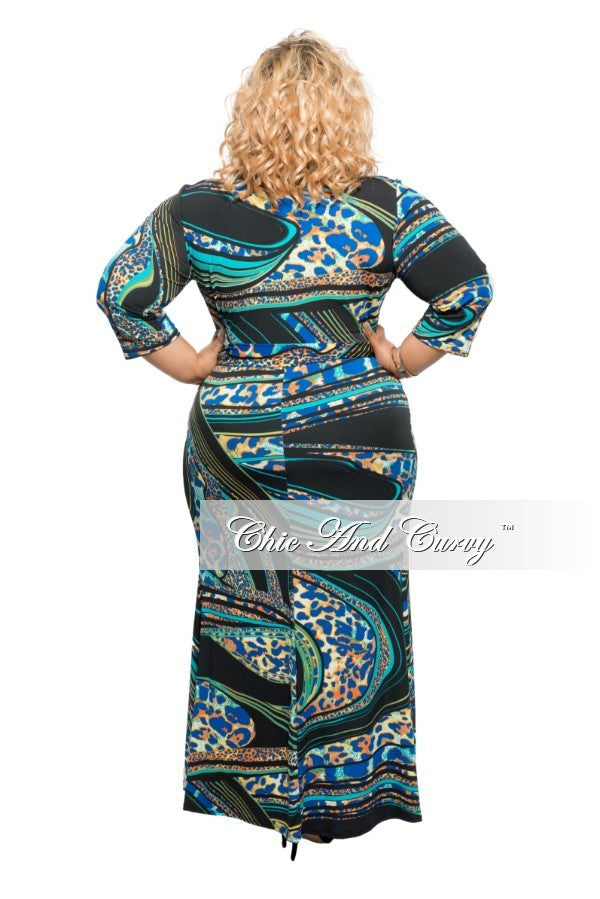 Final Sale Plus Size Wrap Dress in Blue, Black, Yellow & Orange Print