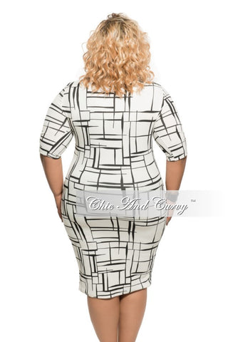 New Plus Size BodyCon Dress in Black & White Print