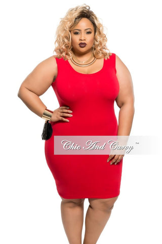 New Plus Size BodyCon Tank Dress in Red