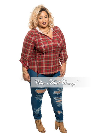 New Plus Size Button Up Plaid Top in  Burgundy & Dark Green
