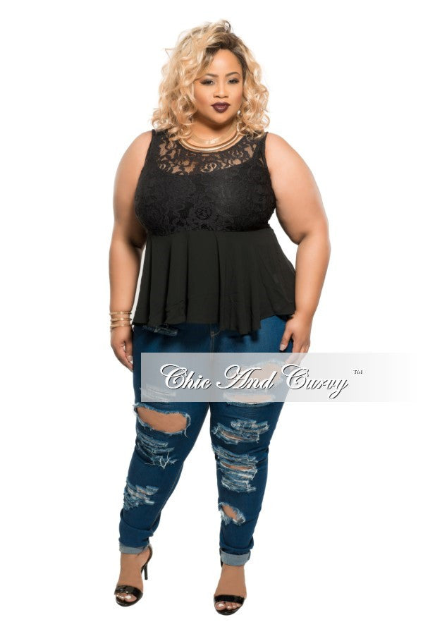 New Plus Size Sleeveless Peplum Lace Top in Black