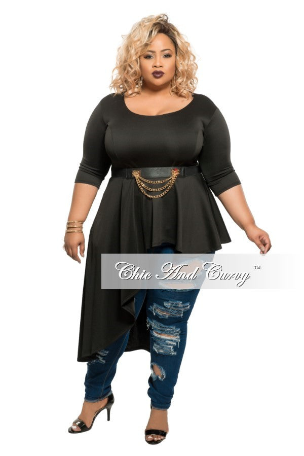 New Plus Size Peplum Top w/ 3/4 Sleeves & Side Tail in Black