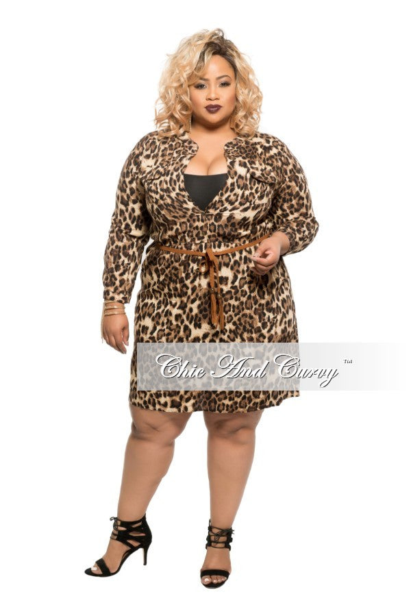 Final Sale Plus Size Dress with Attached Belt in Animal Print
