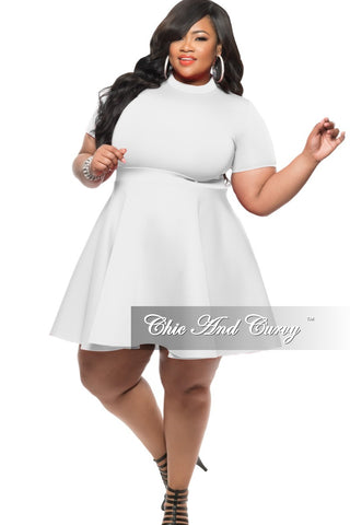 Final Sale Plus Size Tunic Top with Side Split and Short Sleeves in White