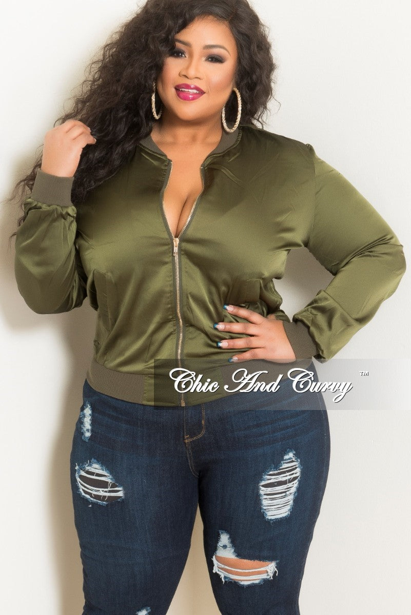f03b588d7ab Final Sale Plus Size Bomber Jacket in Olive – Chic And Curvy