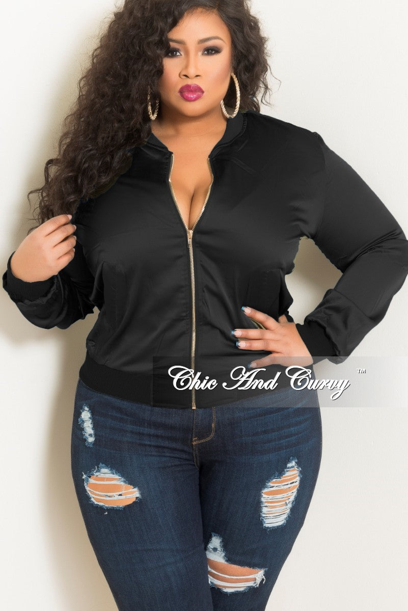 5e866ea8eac Final Sale Plus Size Bomber Jacket in Black – Chic And Curvy