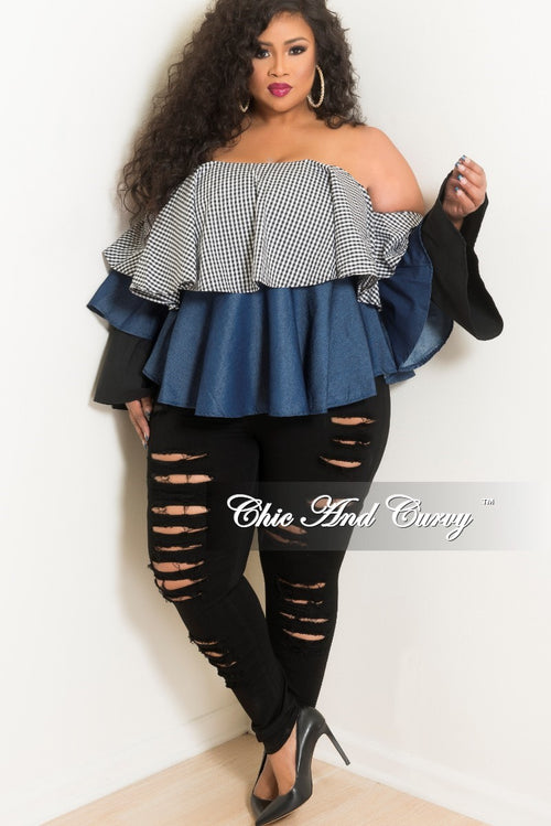 New Plus Size Checker Printed Off the Shoulder Ruffle Layered Top in Denim Contrast and Black