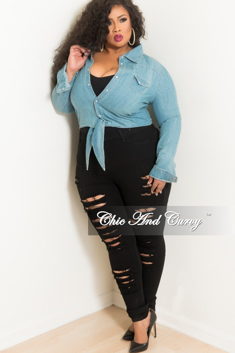 New Plus Size Long Sleeve Button Up Tie Top in Light Denim