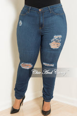Final Sale Plus Size Distressed Jeans in Denim