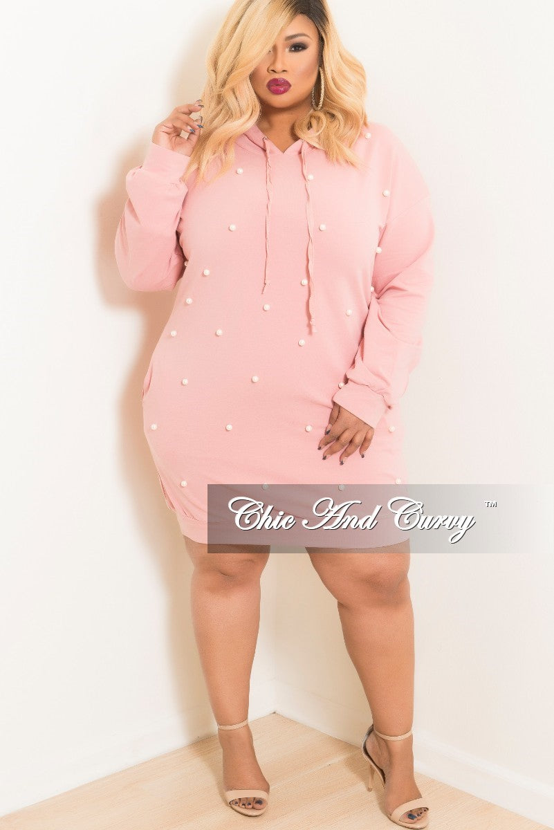 New Plus Size Pearl Beaded Pull Over Hooded Dress in Mauve