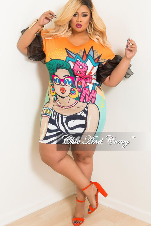 Final Sale Plus Size Pop Art BodyCon Dress with Ruffle Sleeves in Orange Multi Color Print