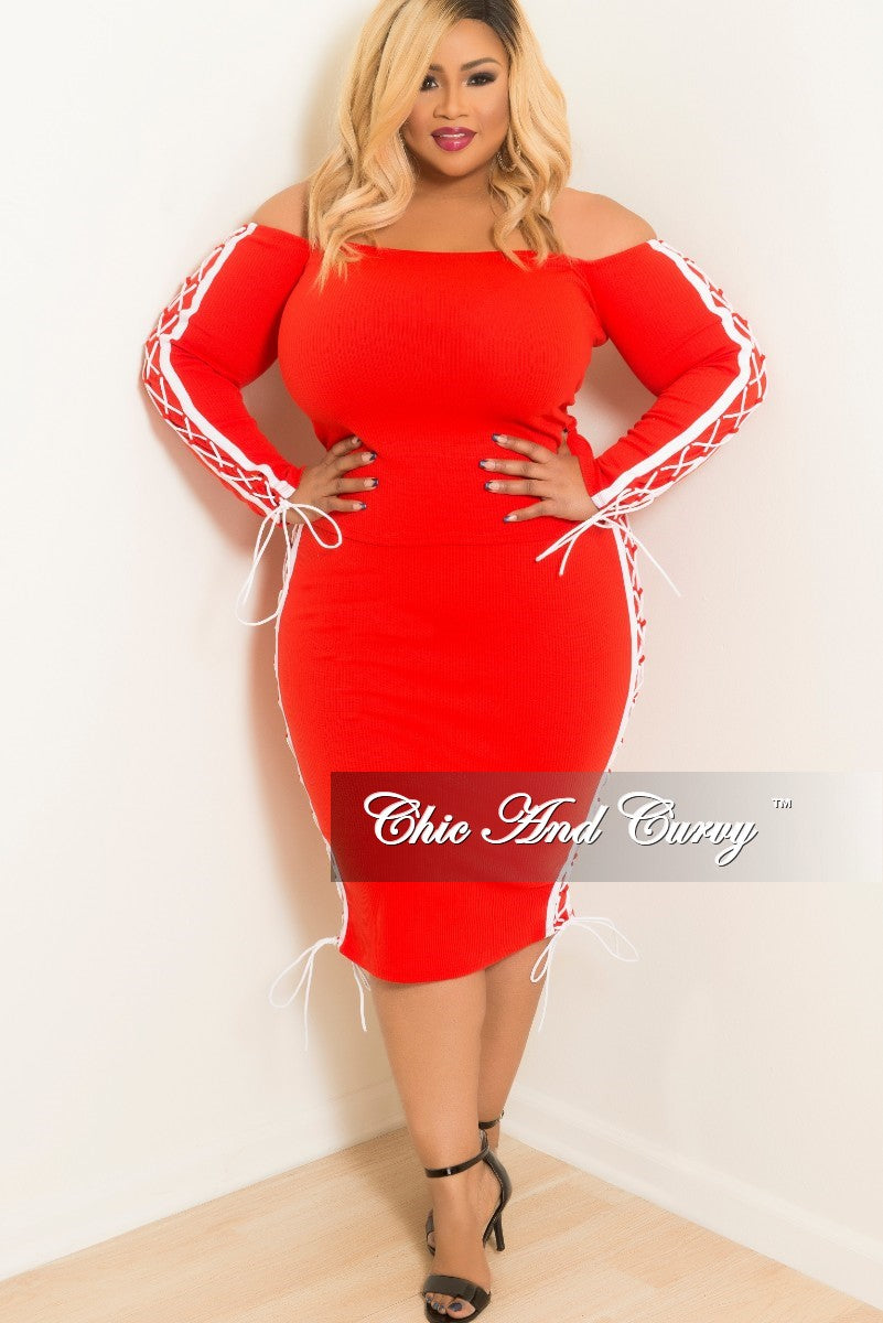 New Plus Size Off the Shoulder Lace Up 2 Piece Top and Skirt Set with White Trim in Red Ribbed Fabric