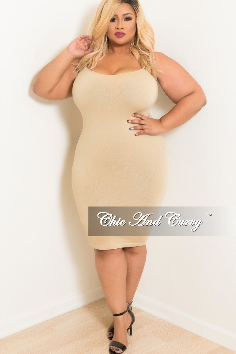 b0460c03858 Final Sale Plus Size Seamless Camisole Slip Dress in Nude – Chic And Curvy