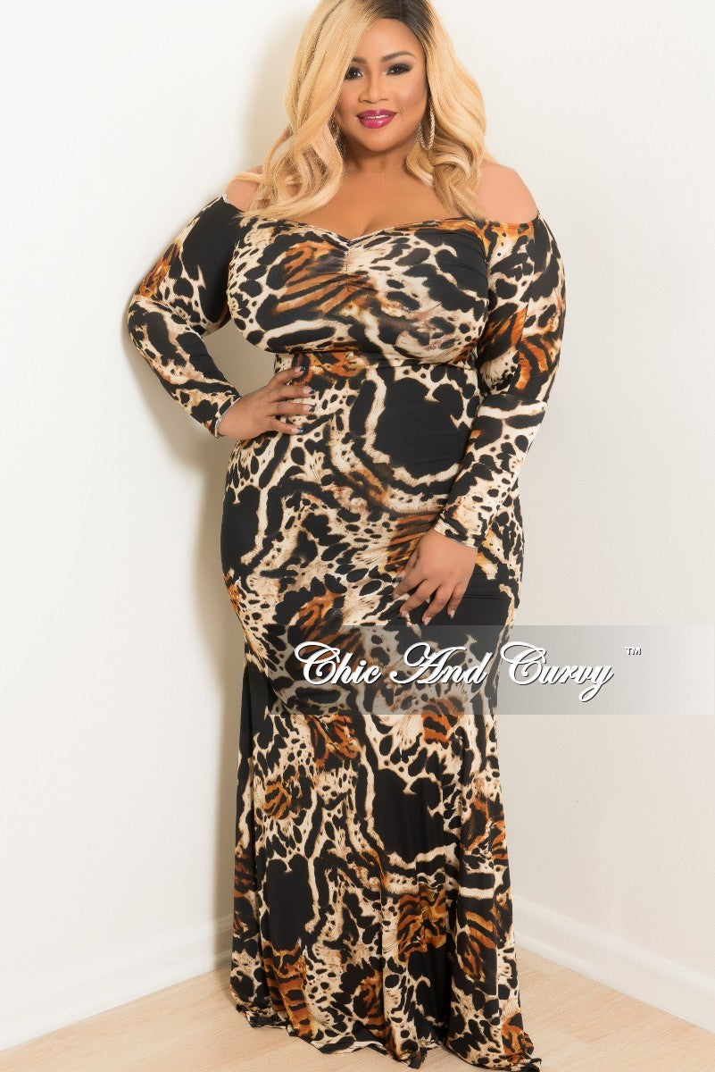 New Plus Size Long Sleeve Off the Shoulder Maxi Dress in Cheetah ...