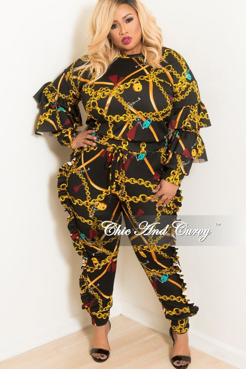 Final Sale Plus Size 2-Piece Ruffle Chain Printed Top and Jogging Pants Set in Black