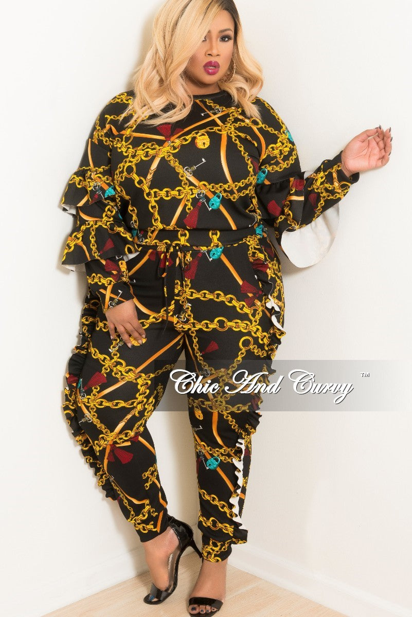 New Plus Size 2-Piece Ruffle Chain Printed Top and Jogging Pants Set in Black