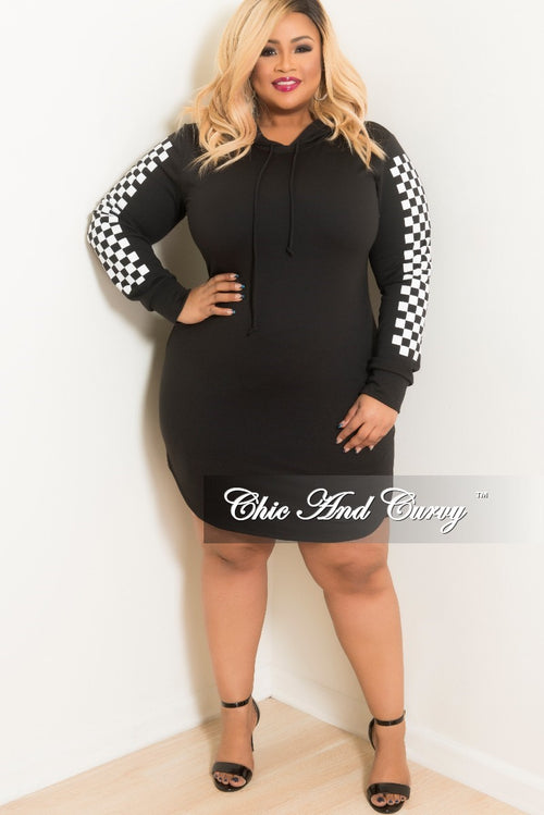Final Sale Plus Size Sporty Pull Over Hooded Dress with Checker Printed Sleeves in Black and White
