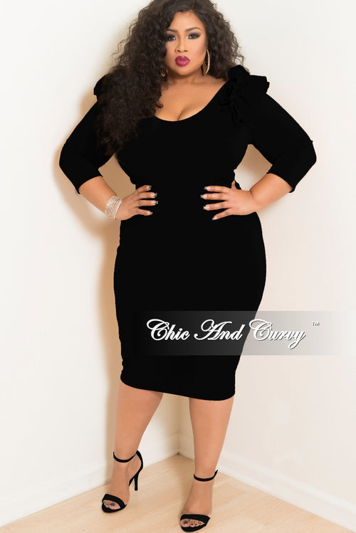 Final Sale Plus Size BodyCon Dress with Ruffle Shoulders and Back Gold Zipper in Black