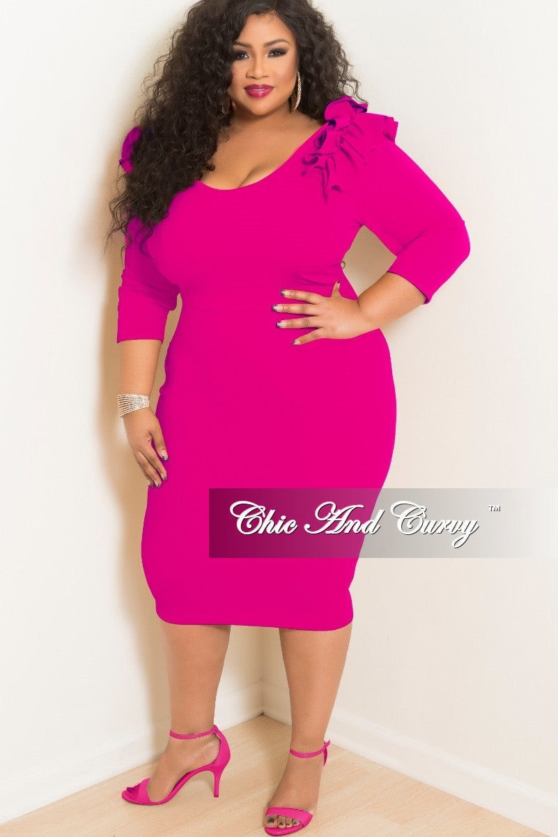 New Plus Size Bodycon Dress With Ruffle Shoulders And Back Gold
