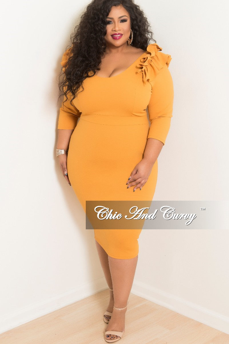 New Plus Size BodyCon Dress with Ruffle Shoulders and Back Zipper in Gold