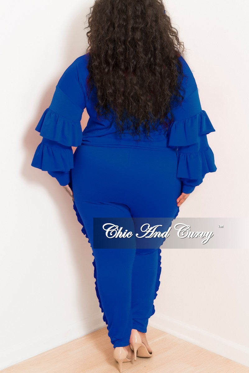 New Plus Size 2-Piece Ruffle Top and Jogging Pants Set in Royal Blue