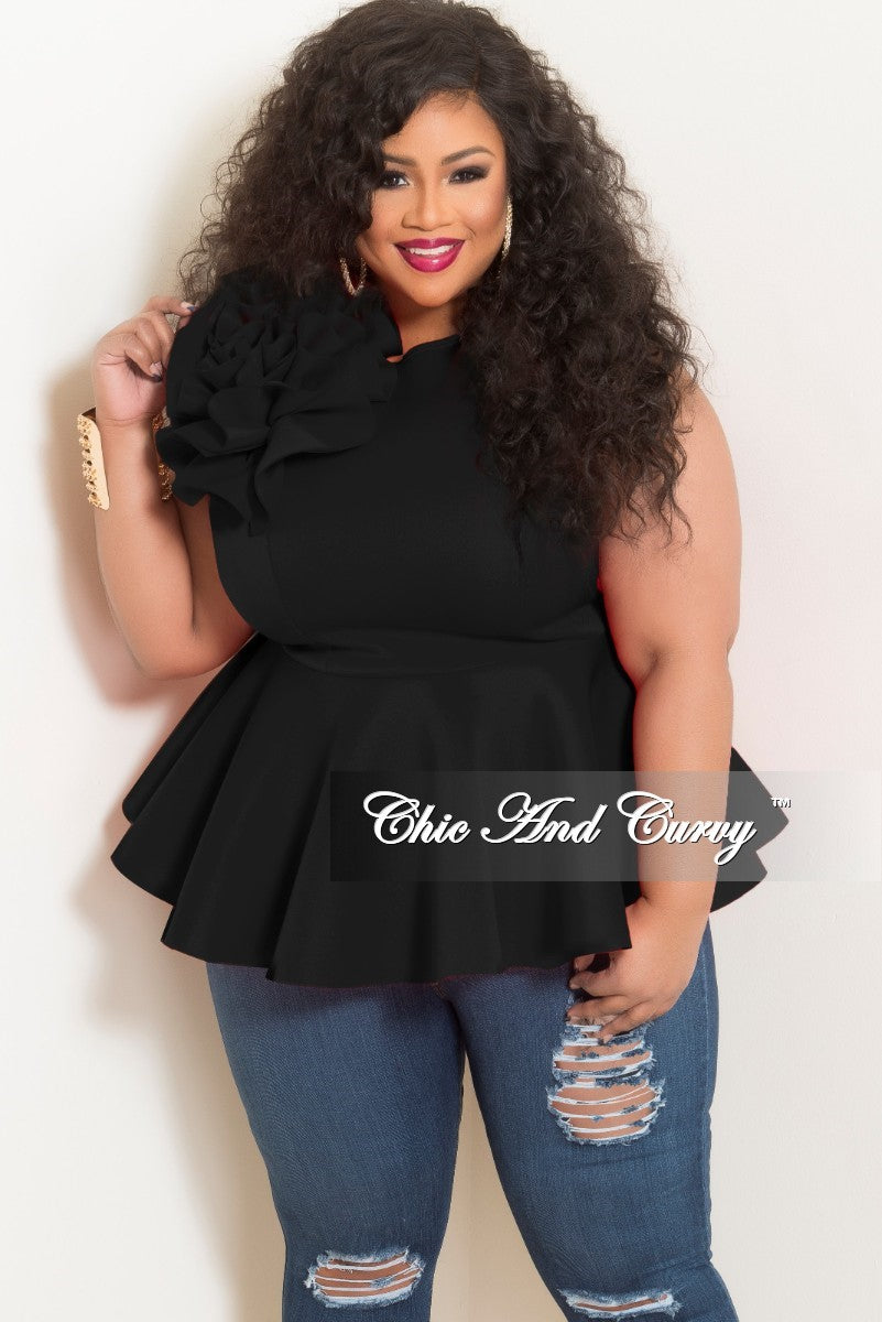 3fe79ce4e82685 Final Sale Plus Size Flower Sleeveless Peplum Top in Black – Chic And Curvy