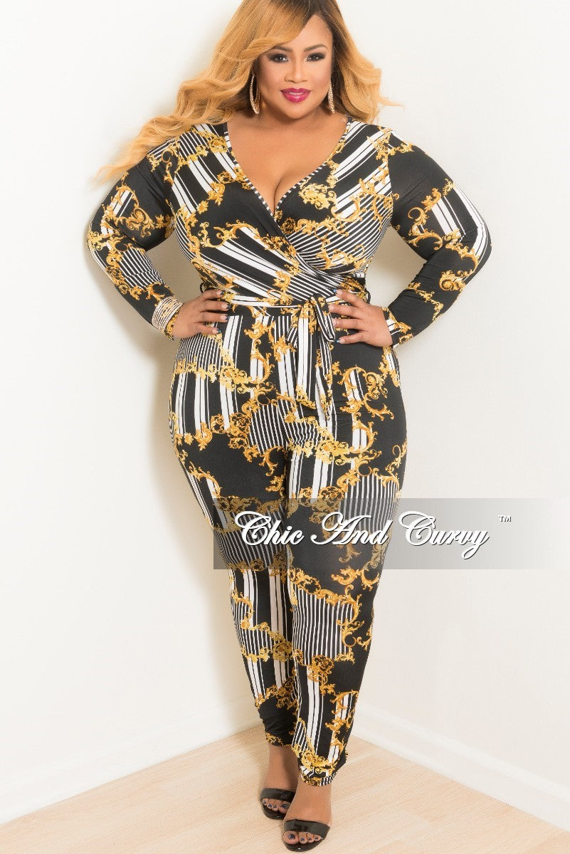 New Plus Size Long Sleeve Stripe Faux Wrap Jumpsuit with Attached Tie in White Black and Gold Print