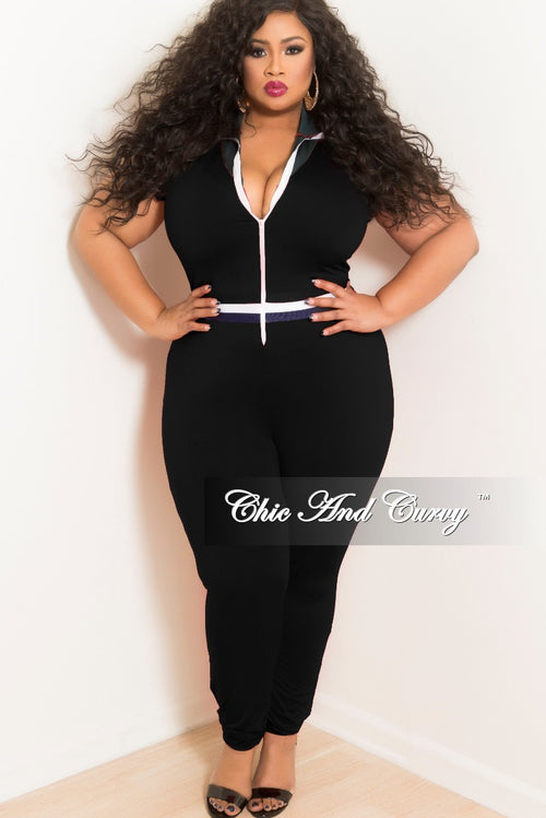 New Plus Size Black Ruffle Sleeves Zip-Up Jumpsuit with Hunter Green Collar and Navy, Red and White Trim