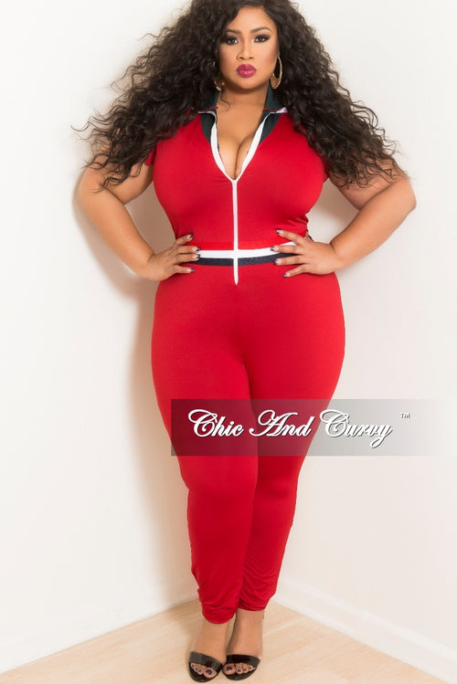 New Plus Size Wine Ruffle Sleeves Zip Red Jumpsuit with Navy, Red, White Trim and Hunter Green Collar