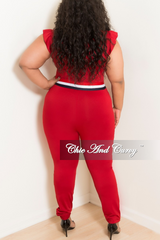 Final Sale Plus Size Wine Ruffle Sleeves Zip Red Jumpsuit with Navy, Red, White Trim and Hunter Green Collar